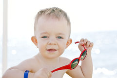 Caucasian boy with sunglasses Stock Image