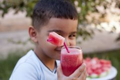 Caucasian boy with watermelon juice royalty free stock images