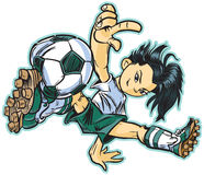 Asian break dancing soccer girl. Vector clip art cartoon of an asian girl using a break dancing move to play soccer. Also available in caucasian and african stock illustration
