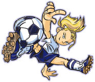 Caucasian break dancing soccer girl. Vector clip art cartoon of a caucasian girl using a break dancing move to play soccer. Also available in asian and african vector illustration