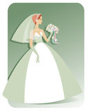 Caucasian Bride. Illustration of a pretty, slender, Caucasian bride in a strapless wedding gown holding a bouquet of flowers. Background can be easily extended Stock Image
