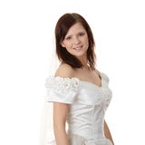 Caucasian bride in long dress Royalty Free Stock Photo