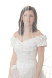Caucasian bride in long dress Stock Photo