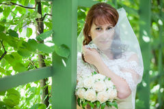 Caucasian bride in white dress covering with veil Stock Photo