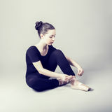 Caucasian brunette ballerina girl Stock Images