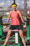 Caucasian Brunette Female Athlete in   Professional Outfit Having Work Out Exercise Outdoor Royalty Free Stock Photo