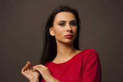 Caucasian brunette woman looking calm Royalty Free Stock Images