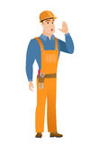 Caucasian builder calling for help. Royalty Free Stock Photography