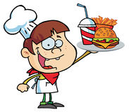 Caucasian burger boy holding up a cheeseburger. Fries and cola royalty free illustration