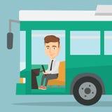 Caucasian bus driver sitting at steering wheel. Bus driver driving passenger bus. Bus driver in drivers seat in cab. Vector flat design illustration. Square Stock Photo