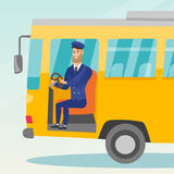 Caucasian bus driver sitting at steering wheel. Young caucasian bus driver sitting at steering wheel. Hipster bus driver with beard driving a passenger bus vector illustration