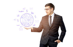 Caucasian business man receiving hand with icon Royalty Free Stock Photos