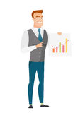 Caucasian business man showing financial chart. Caucasian businessman giving business presentation and showing financial chart. Full length of business man Royalty Free Stock Photo