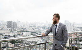 Caucasian Business Man Standing Railings City View Concept Stock Images