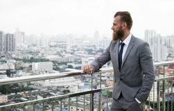 Caucasian Business Man Standing Railings City View Concept Stock Photos