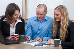 Caucasian business power team meeting Royalty Free Stock Photo