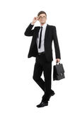 Caucasian Businessman with Briefcase Royalty Free Stock Photography