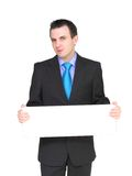 Caucasian businessman with empty,blank white card. Stock Photo