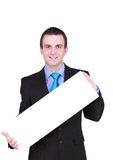 Caucasian businessman with empty,blank white card. Stock Photos