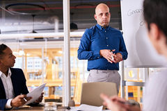 Caucasian businessman giving a business pitch to two potential investors royalty free stock image