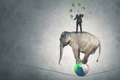 Caucasian businessman juggling currency symbols. Image of Caucasian businessman juggling with currency symbols while standing above a circus elephant Stock Photos