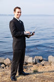 Caucasian businessman with laptop Royalty Free Stock Photos