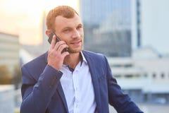 Caucasian businessman on the phone. Royalty Free Stock Photos