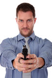 Caucasian businessman pointing with the gun Stock Photos