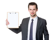 Caucasian businessman show with clipboard. Isolated on white background Stock Photo