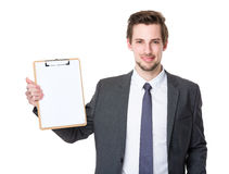 Caucasian businessman show with clipboard. Isolated on white background Royalty Free Stock Photo