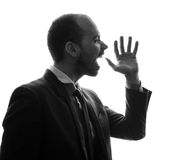 Caucasian businessman silhouette Stock Photos