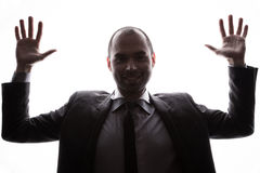 Caucasian businessman silhouette Royalty Free Stock Photos