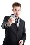 Caucasian businessman taking picture Royalty Free Stock Photography