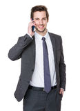 Caucasian businessman talk to cellphone Royalty Free Stock Images