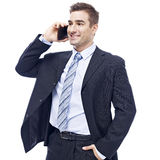 Caucasian businessman talking on cellphone Stock Images