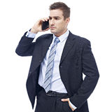 Caucasian businessman talking on cellphone Royalty Free Stock Image