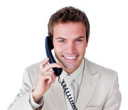 Caucasian businessman talking on phone Stock Photography