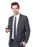 Caucasian businessman use of cellphone Stock Photos