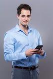 Caucasian businessman use mobile phone Stock Photos