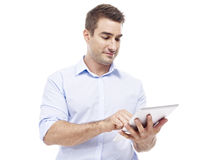 Caucasian businessman using tablet computer Stock Photo