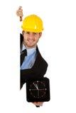 Caucasian businessman, wall clock. Stock Photography