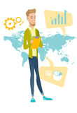 Caucasian businessman working in global business. Businessman taking part in global business. Businessman standing on the background of map. Global business and Royalty Free Stock Photo