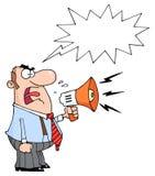 Caucasian businessman yelling through a megaphone Stock Images