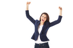 Success yong business woman celebrating screaming Royalty Free Stock Image