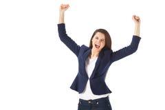 Success yong business woman celebrating screaming Royalty Free Stock Image