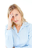 Caucasian businesswoman with a headache Stock Image