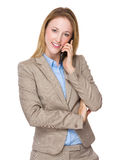Caucasian businesswoman talk to mobile phone Royalty Free Stock Photos