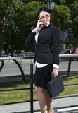 Caucasian businesswoman talking Royalty Free Stock Photos