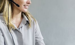 Caucasian call center woman help desk service Royalty Free Stock Images