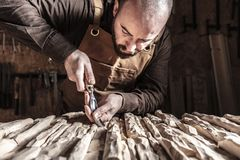 Carpenter at work. Caucasian carpenter carving wood with gouge stock photos